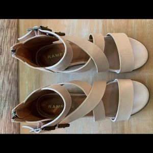 Rampage Shoes - Rampage Havarti Strappy Heel Nude Smooth Size 8